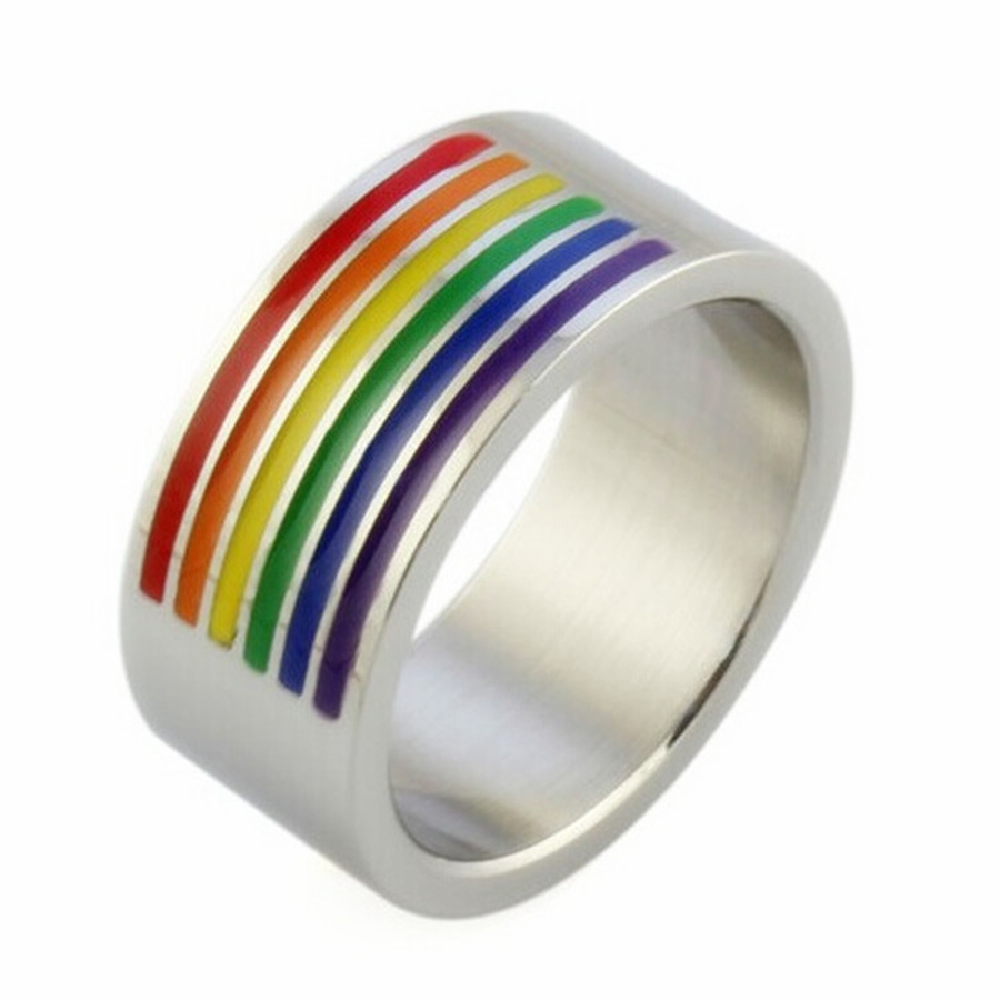 titanium steel ringbow gay pride ring homosexual jewelry les lgbt wedding couple rings for men women anel anillos aneis bague in rings from jewelry - Lgbt Wedding Rings