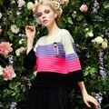 2016 Новая мода весна женщины многоцветные полосы рукавом свободные пуловер свитер о-образным вырезом горячие продажа
