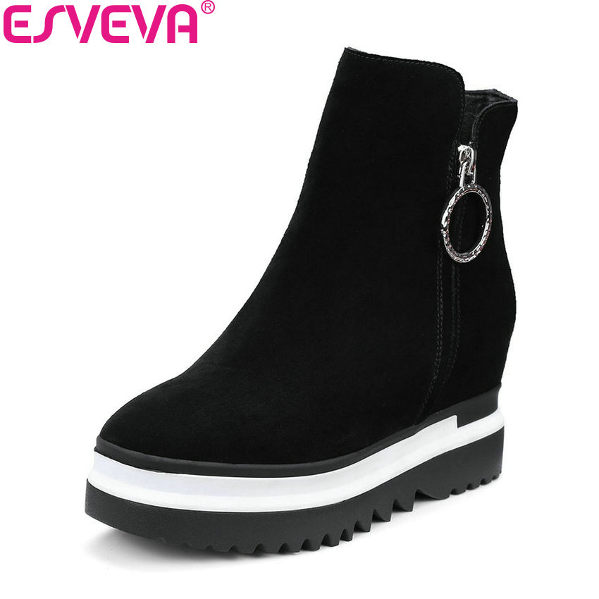 ESVEVA 2018 Height Increasing Women Boots Synthetic/PU Round Toe High Heels Autumn and Spring Platform Ankle Boots Size 34-42 esveva 2016 sequined platform women boots autumn fashion boots wedges high heel leisure round toe ladies ankle boot size 34 39
