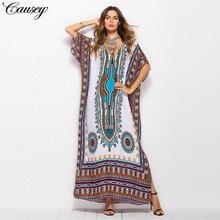Dubai Maxi Kaftan kadın moda müslüman elbise baskı Vintage kadın plaj yaz Robe büyük boy Arabes çarşaf İslami giyim