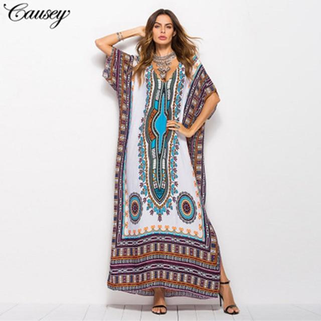 Dubaj Maxi Kaftan moda damska sukienka muzułmańska drukuj Vintage kobieta plaża letnia szata duże rozmiary Arabes Abaya islamska odzież