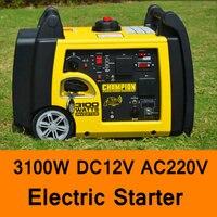 3100W DC 12V AC 220V Gasoline Inverter Generator Electric Starter Car Household Gasoline Generators Portable Quite