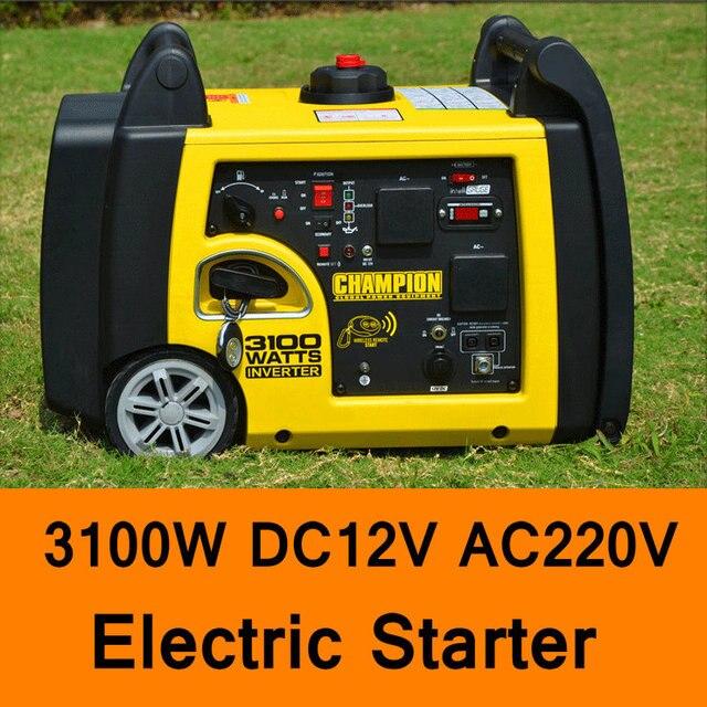 3100W DC 12V AC 220V Gasoline Inverter Generator Electric Starter Car Household Gasoline Generators Portable Quite Generator
