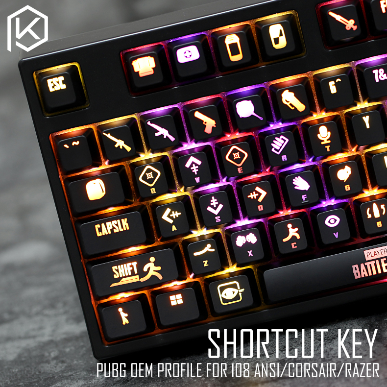US $38 9 |oem profile abs Backlit 87 104 108 ansi set keycap pubg  battlegrounds keyboard shortcuts for corsair k70 razer black widow-in  Keyboards from
