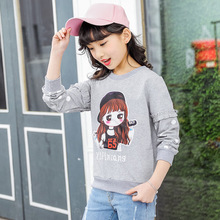 ФОТО 2018 spring new children's clothing girls wild jackets big children cute wild lace embroidery bottoming shirt