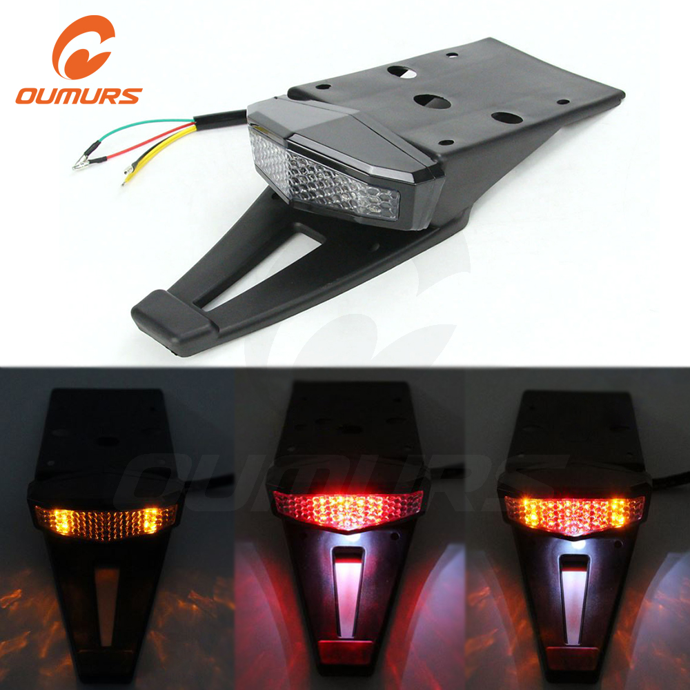 OUMURS Motorcycle Universal Tail Lights LED 12V Dirt Bike Rear Fender Tail Light Brake Turn Signal Off-Road Dual Sport For KTM