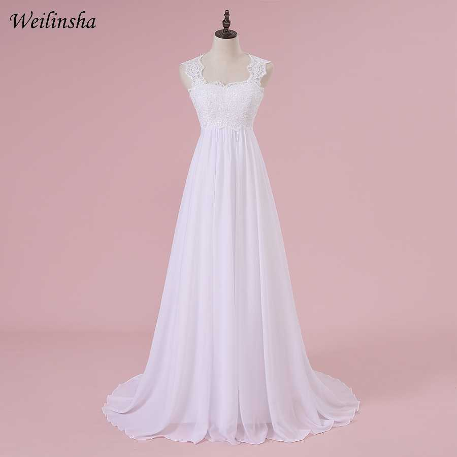 Weilinsha Cheap Stock Beach Wedding Dress Chiffon Lace Long Wedding Gowns Pregnant Bridal Dresses Plus Size Robe De Mariage