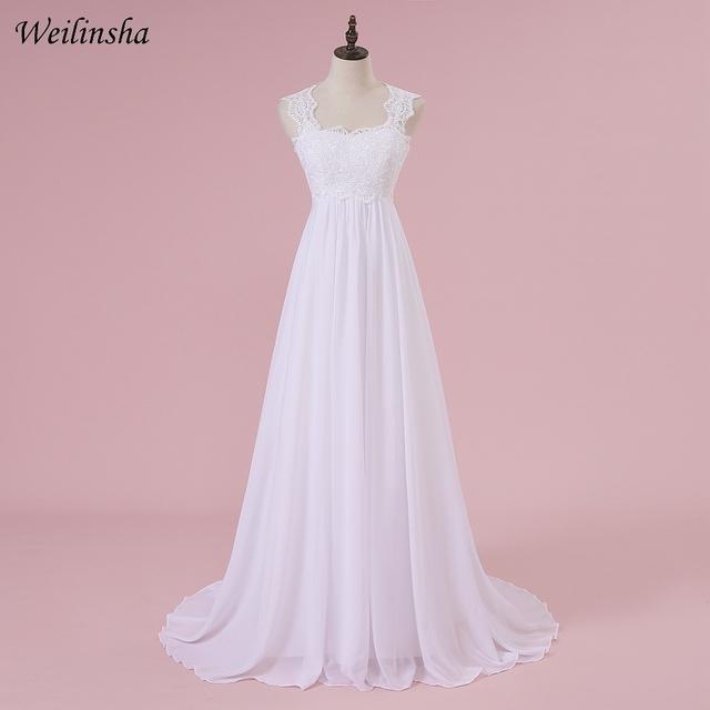 Weilinsha Cheap Stock Beach Wedding Dress Chiffon Lace Long Wedding Gowns Pregnant Bridal Dresses Plus Size Robe De Mariage
