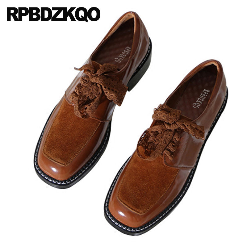 italian brown square toe ladies chinese custom black lace up designer china genuine leather suede vintage women oxfords shoes