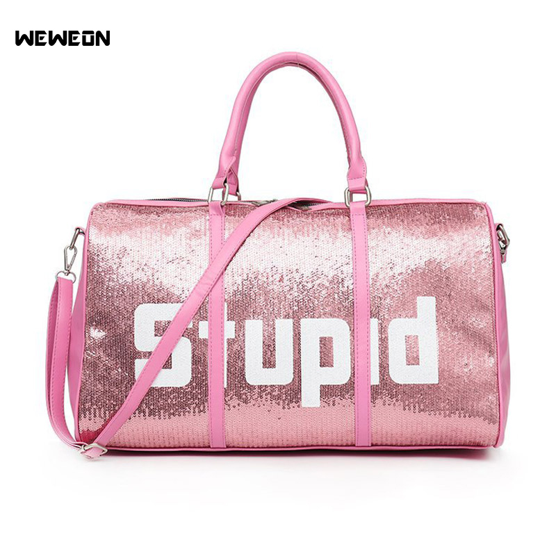 Women Printing Sequin Sport Gym Bag Stylish PU Light Fitness Training Bag Lady Outdoor Travel Handbag Bag Yoga Tote Sac Sport