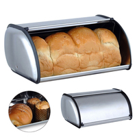 Stainless Steel Roll Top Bread Box Storage Bin Keeper Food Container Kitchen