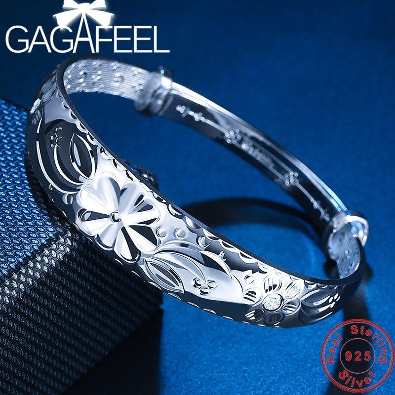 GAGAFEEL S999 Sterling Argent Fleurs Bracelets Push-Pull Bracelet pour Femmes Femelle En Gros de Haute Qualité