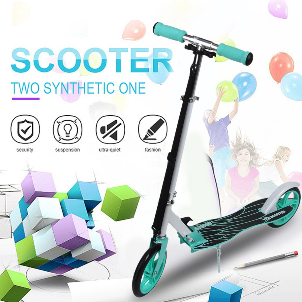 Adult Youngsters Aluminum Alloy Folding Height Adjustable Foot Kick Scooter Two Rounds Outdoor Double Damping Push Kick Scooter цена 2017
