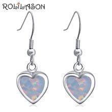 цены 925 Sterling Silver Heart shape Created white fire opal drop Earrings party Jewelry Earrings For Woman SE007
