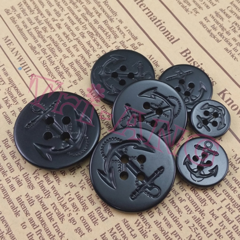 20pcs/lot, 15mm 19mm 22mm 25mm 28mm <font><b>30mm</b></font> Antiflaming Black Anchor Urea <font><b>Buttons</b></font> image