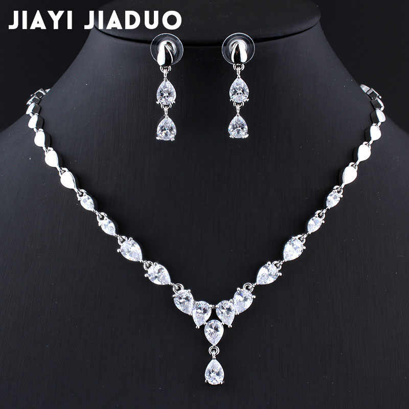 jiayijiaduo 2017 Wedding jewelry sets Necklace earring set for Women Exquisite AAA zircon Silver color jewellery Water droplets