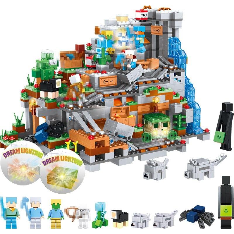 Mon Monde Montagne Grotte blocs de construction Compatible LegoINGLYS Minecrafted Mini 21137 Aminal Alex Chiffres Briques Jouets Pour Enfants
