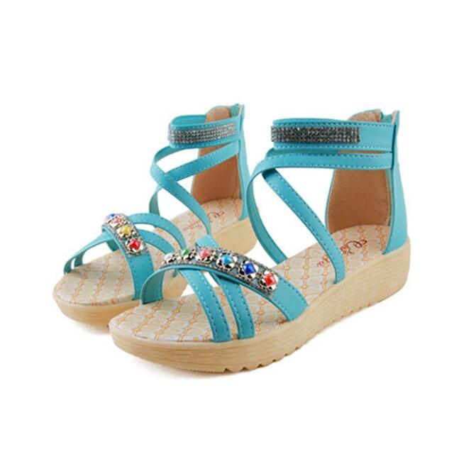 f6049da69 Women s Summer Ankle Wedges Strappy Sandals Ladies Casual Flat Heels  Comfortable Walking Rhinestone Shoes Boho Sandals Sandalias