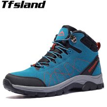 Sneakers Women Waterproof Leather Hiking Shoes Men Warm Velvet Female Outdoor Sport Shoes Trekking Mountain Climbing Suede Boots