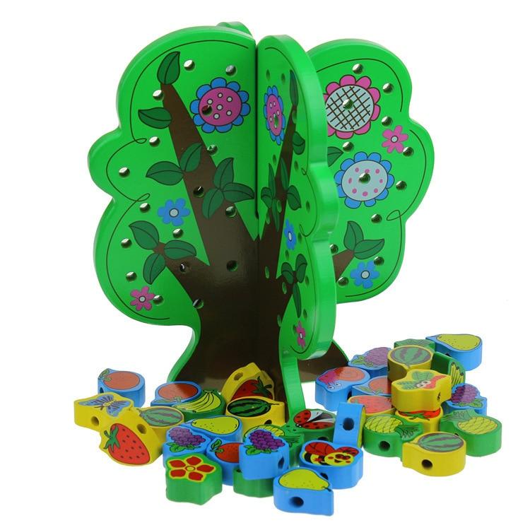 Children S Wooden Toys Wisdom String Of Children S Educational Wooden Fruit Stringing Beads Educational Toys
