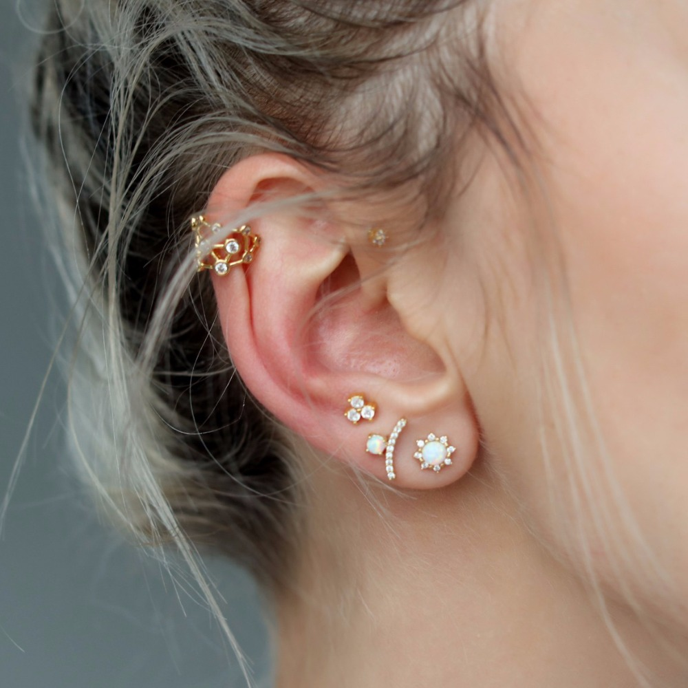 Us 7 28 2018 Geometric Cute Earring Paved White Cz Fire Opal Gem Elegance Multi Piercing Second Stud Round Sun Bar Gorgeous Ear Studs In Stud