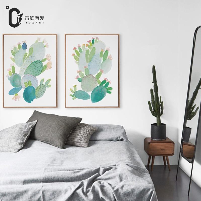 US $5.0 50% di SCONTO Acquerello cactus Semplice camera da letto moderna  decorazione della tela di canapa pittura freshing ristorante pittura ...