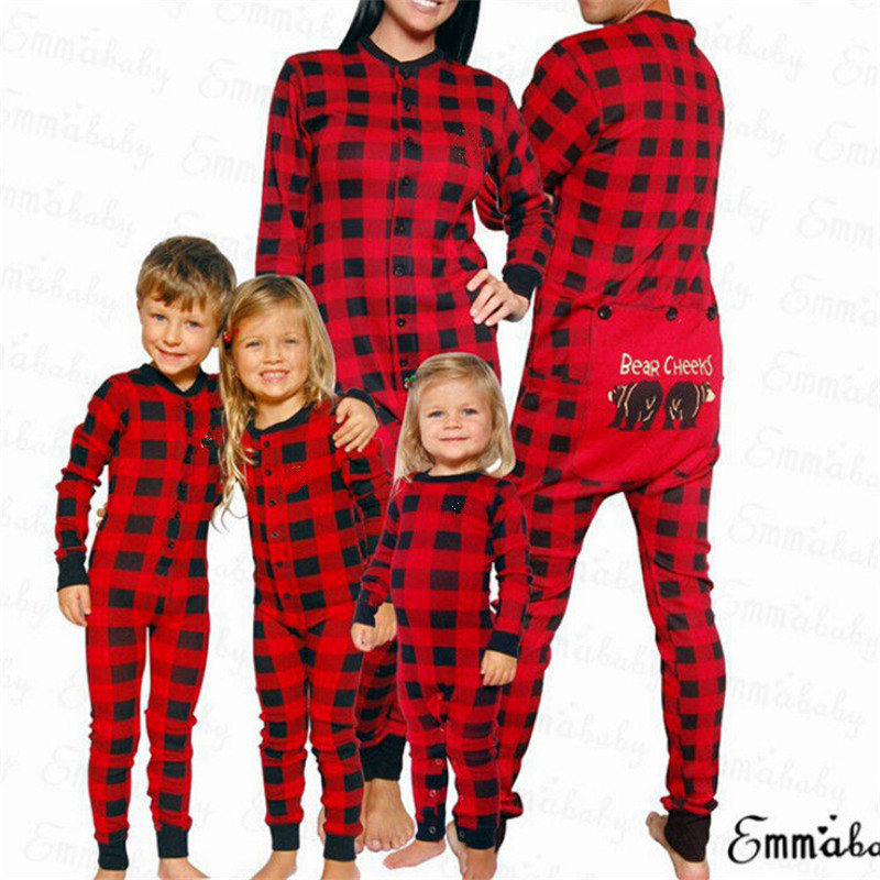 Christmas Parent child Sleep Jumpsuit Xmas Family Matching Pajamas Set Bear Red Plaid Long Sleeve Adult