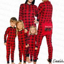 Рождественский комбинезон для сна для родителей и детей, Рождественский семейный пижамный комплект, красная клетчатая пижама с длинными рукавами и рисунком медведя для взрослых, женщин и детей