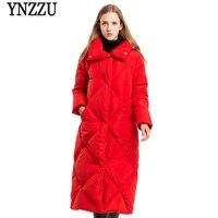 Brand Luxury 2018 Winter Women's Down Jacket Elegant Long Style 90% White Duck Down Coats Thickening Warm Female Snow Coat AO620