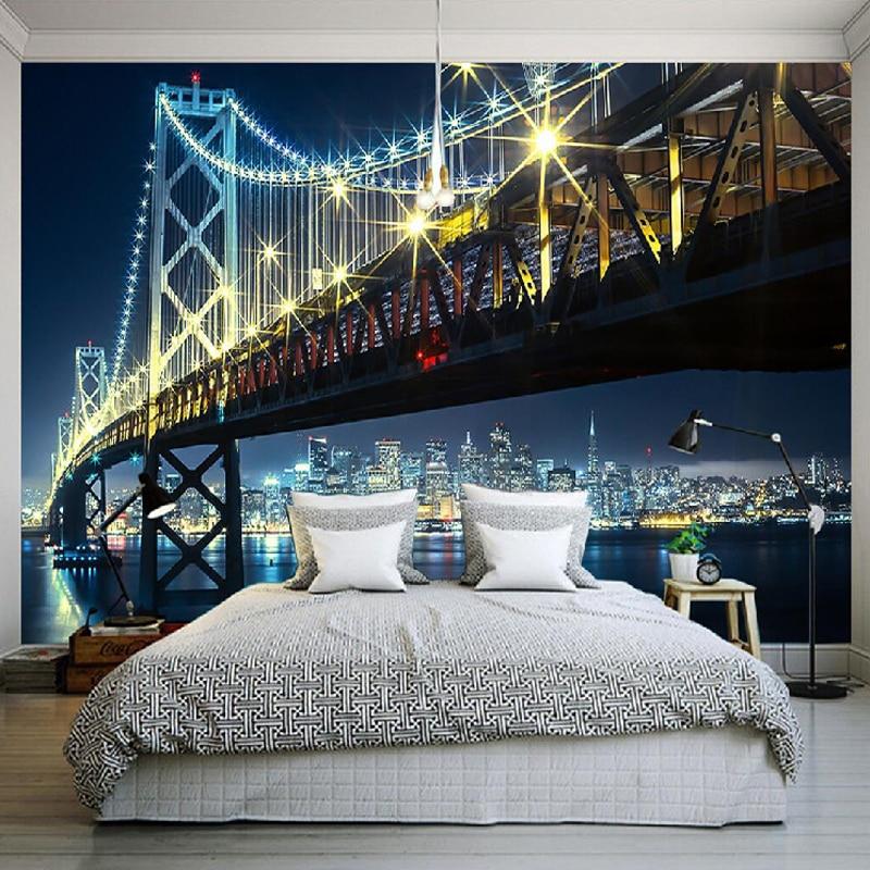 Custom 3D HD Photography Photo Wallpaper Modern City Night Views Bridge River Wall Mural Non-woven Wall Paper For Bedding Room