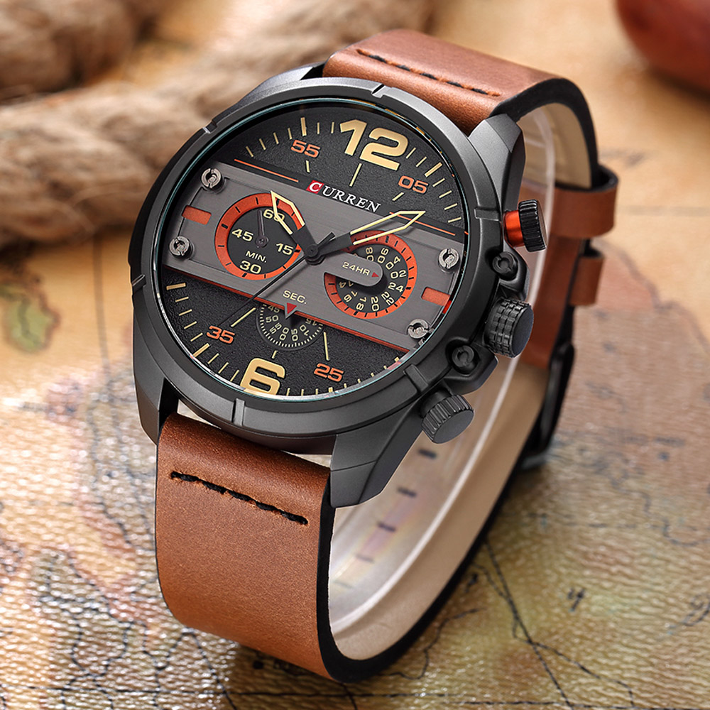 Curren watches men luxury brand army military watch leather sport watches quartz men waterproof for Curren watches