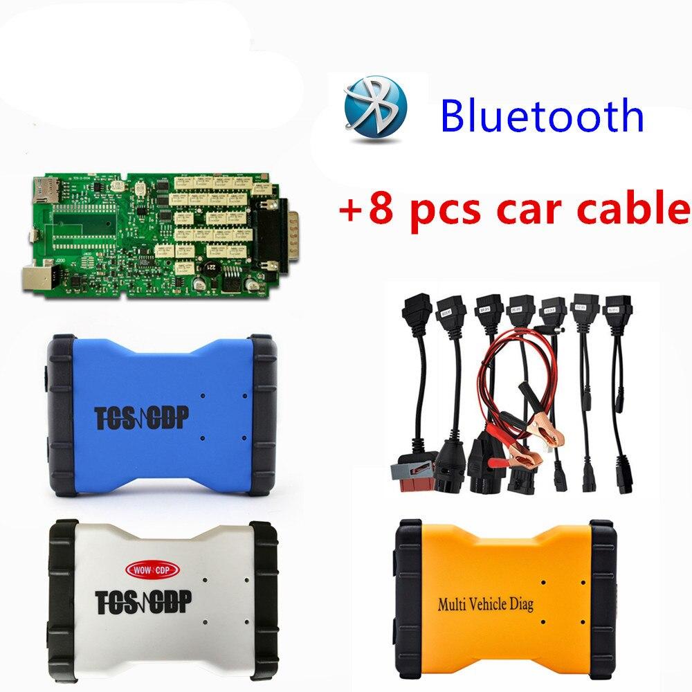 DHL TCS CDP PRO nouvelle arrivée vert unique pcb avec Bluetooth + un ensemble de voiture câble obd obd2 2016r0 /2015r3 logiciel scanner outil