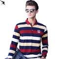 Весна осень мужчины рубашки поло хлопка высокого качества марка полосой Длинным рукавом рубашки мужчины Бизнес случайный комфортно твердых рубашки поло