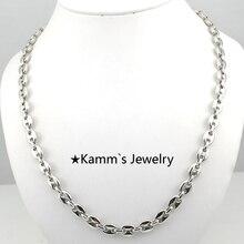 7 mm * 22 pulgadas hombres de calidad granos de plata 316 de acero inoxidable cuerpo cadena collar de accesorios de la joyería del regalo navidad del motorista KN062