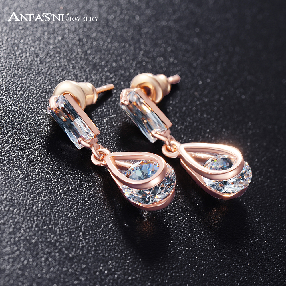 ANFASNI Stud Earrings Clear Stone Austrian Crystal SWA Elements Rose Golden Color Earring Women Jewelry CER0215-A