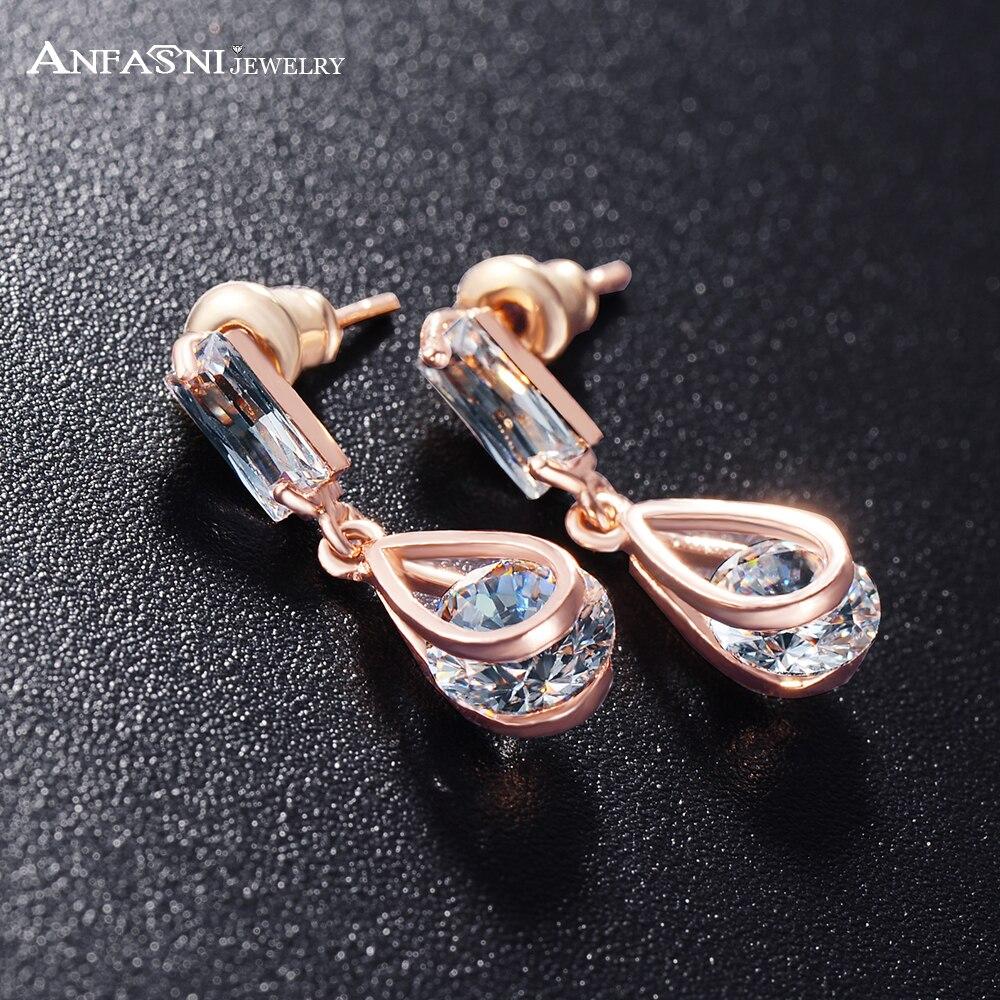 ANFASNI Stud Earrings Clear Stone Austris