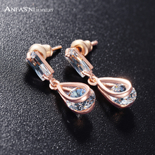 ANFASNI Stud Earrings Clear Stone Austrian Crystal SWA Elements Rose Golden Color Earring Women Jewelry CER0215-A(China)