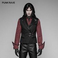 Punk Rave Men's Vest Fashion Steampunk Gothic Leather Black Retro Palace Men's Vest Jacket Emo Visual Kei Vest Men
