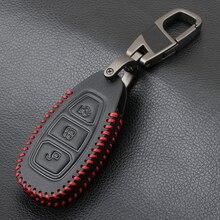 Brelok 3 przycisk skórzana obudowa kluczyka do samochodu brelok do klucza pokrowiec na forda Focus 3 MK3 MK4 c max Mondeo Kuga Fiesta obudowa kluczyka samochodowego