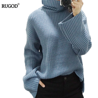 RUGOD Women Sweater Turtleneck Long Arrival Autumn Winter Knitted Crochet Blue Letter Pullover Female Sweaters Winter