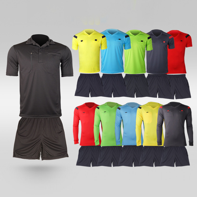 5bca6ca87a2 2017 New Style Soccer Judge Uniform Professional Soccer Referee Clothing  Football Referee Jersey Black Yellow Green