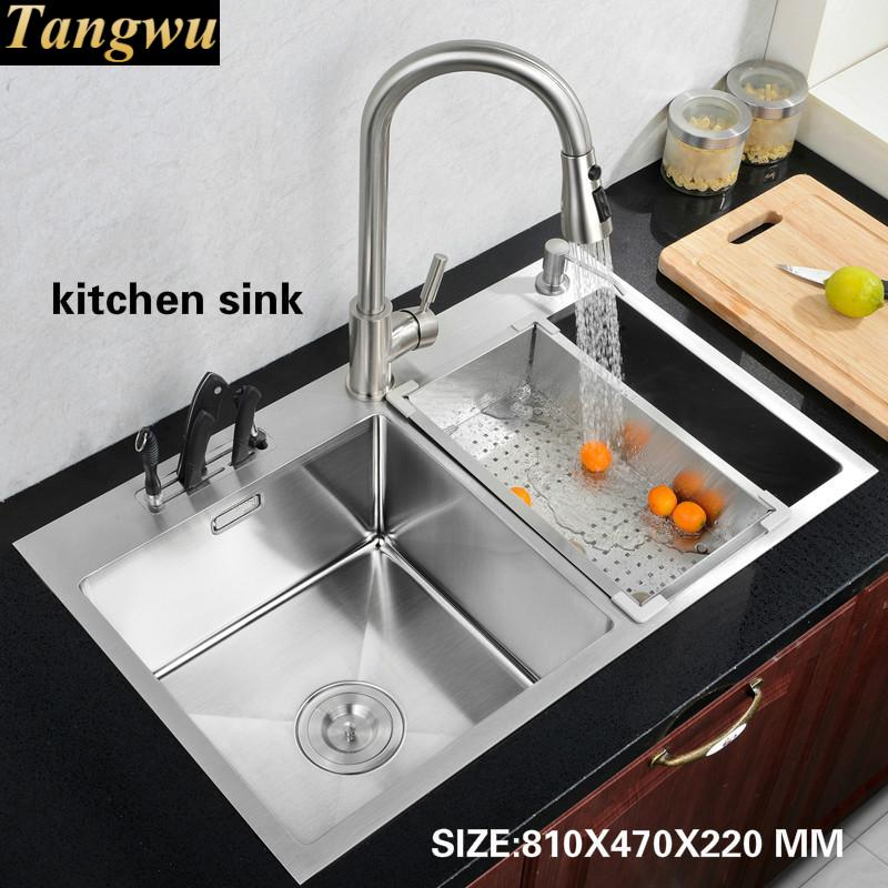 Tangwu Kitchen 304 Stainless Steel Hand Sink Basin Washing Dishes Double Trough Thick 78x43 81x47