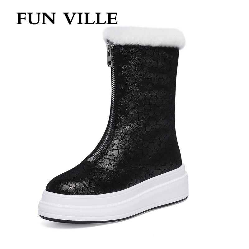 FUN VILLE/женские ботильоны из натуральной овечьей кожи; зимние теплые шерстяные ботинки; ботинки на толстой платформе; пикантная женская обувь...