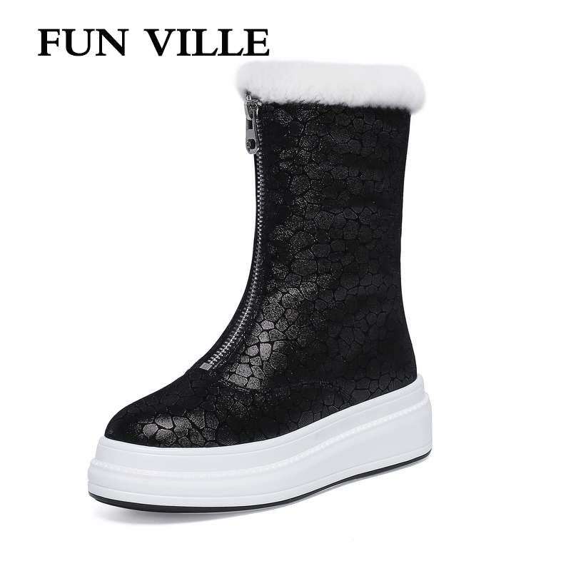 FUN VILLE Women Ankle boots Genuine Leather Sheepskin Winter Warm Wool Snow Boots Thick Platform Boots Flats shoes Woman Sexy cocoafoal women s wool snow boots woman ankle boots silvery winter snow boots flat with platform wool snow boots genuine leather
