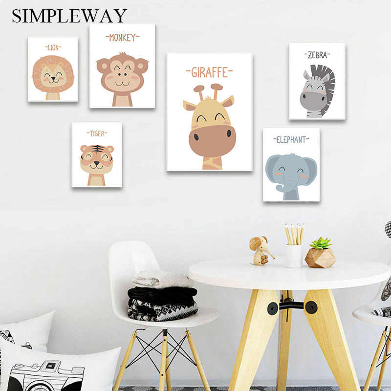 Cute Cartoon Animal Lion Zebra Child Poster Canvas Wall Art Nursery Print Painting Nordic Kid Decoration Picture Baby Room Decor