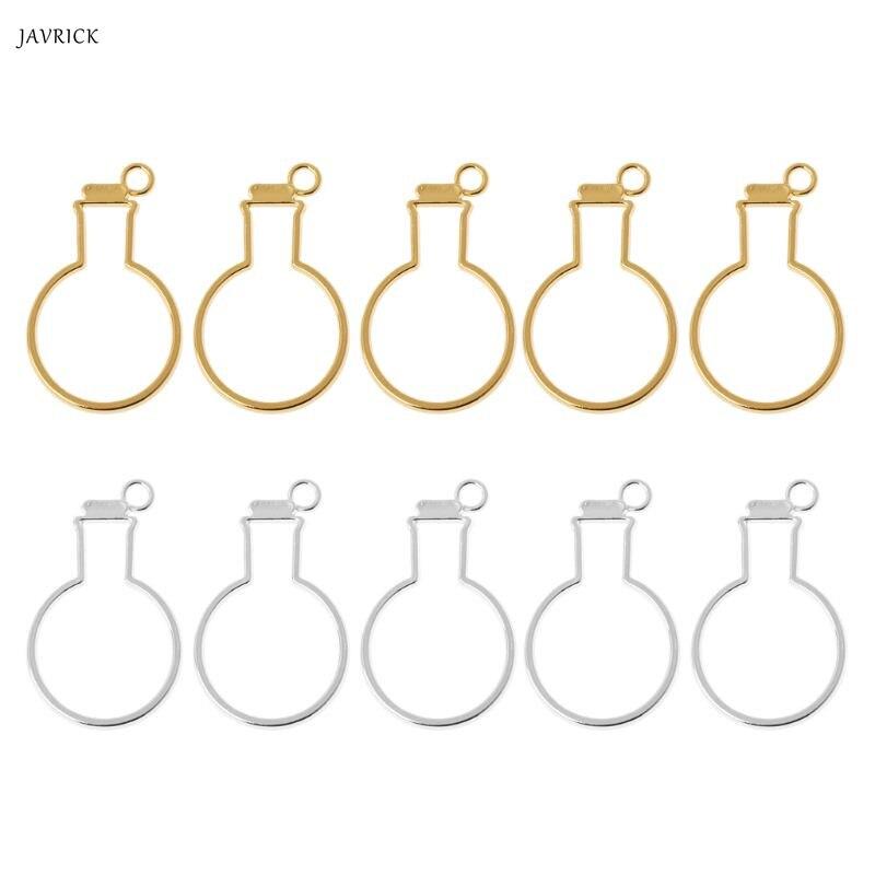 5Pcs Bulb Bottles UV Frame Pendant Open Bezel Setting For UV Resin Jewelry DIY