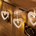 Battery 10 LEDs Cute Heart Shapes Romantic LED String Light  Lamp Warm White Wood For Festive Christmas Birthday Valentine's Day