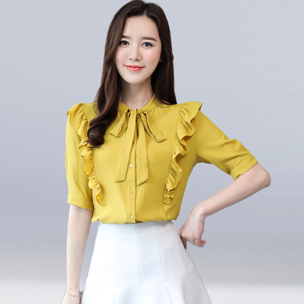 Summer and Autumn High Quality Women Loose Chiffon Shirts Sexy Ruffled Bow Tie Rope Tops Fashion Elegant Office Shirts Blouses