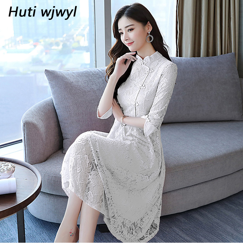 2018 Autumn Winter Vintage Plus Size White Lace Midi Dresses Women...