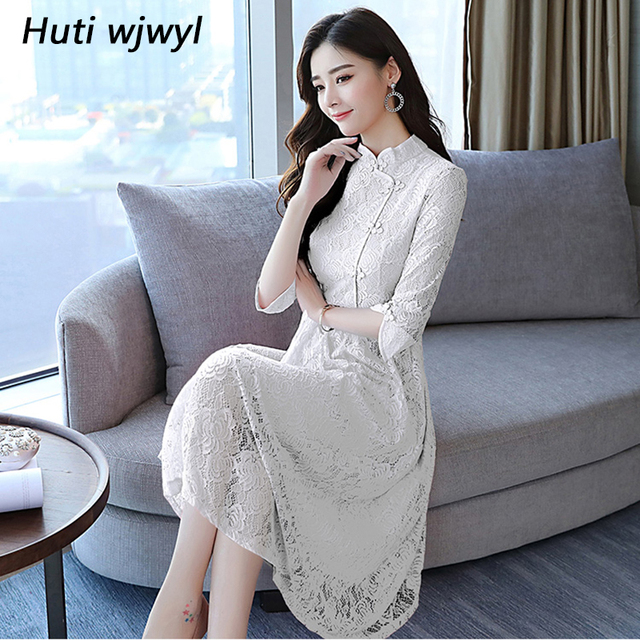 505b99de7b99 2018 Autumn Winter Vintage Plus Size White Lace Midi Dresses Women Elegant  Korean Black Bodycon Maxi Dress Party Evening Vestido